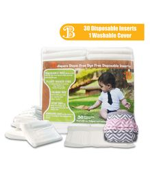 Bumchum Waterproof Diaper Cover With Insert Elsie Large - Pink Grey