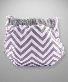 Bumchum Waterproof Diaper Cover With Insert Jumbo Grey White - Large