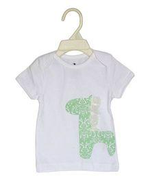 BumChum Half Sleeves T-Shirt Giraffe Print - White