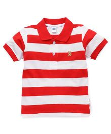Teddy Half Sleeves Polo T-Shirt Stripes - Red White