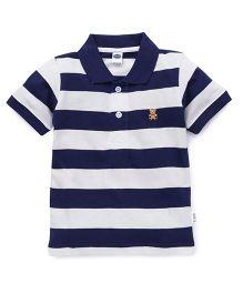 Teddy Half Sleeves Polo T-Shirt Stripes - Navy White