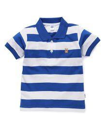 Teddy Half Sleeves Polo T-Shirt Stripes - Royal Blue White