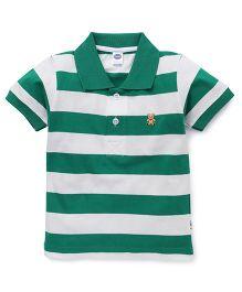 Teddy Half Sleeves Polo T-Shirt Stripes - Green White