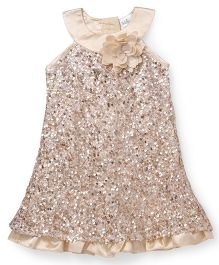 Babyhug Sleeveless Party Wear Frock With Sequins - Beige