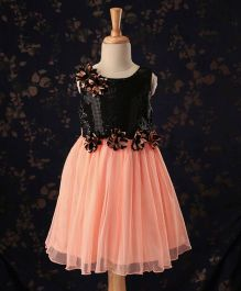 Babyhug Sleeveless Party Wear Frock Sequin & Floral Applique - Black & Peach