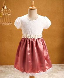 Babyhug Cap Sleeves Party Wear Frock - White Peach