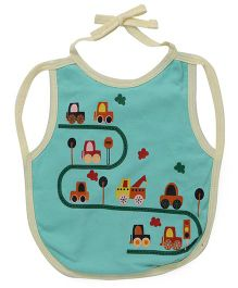 Ohms Tie Knot Bib Vehicle Print - Light Blue