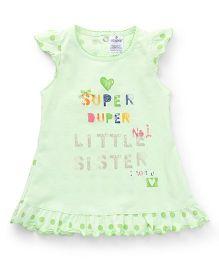 Ollypop Polka Dot Cap Sleeves Frock With Print - Pista Green