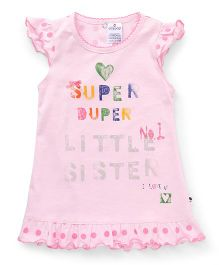 Ollypop Polka Dot Cap Sleeves Frock With Print - Pink