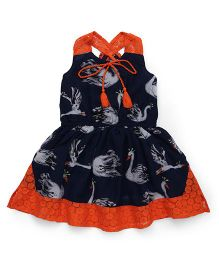 Pinehill Halter Neck Frock Printed - Navy Orange