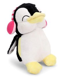 Dimpy Stuff Penguin With Ear Muffs Pink Black White - 21 cm