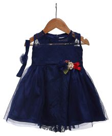 Rose Couture See Through Lace Applique Dress With Hairband - Navy Blue
