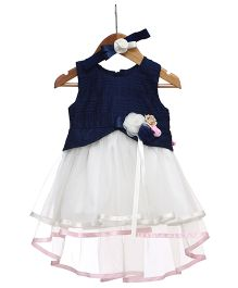 Rose Couture Flare Dress With Floral Applique & Hairband - Navy Blue