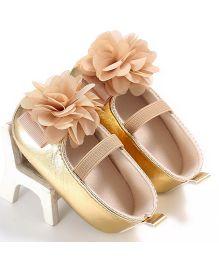 Wow Kiddos Soft Soled Belted Flower Applique Shoes - Golden