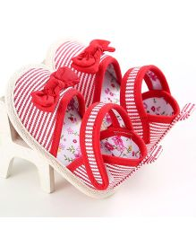 Wow Kiddos Stripe Bow Knot Sandals - Red & White Stripes