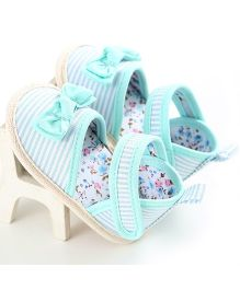Wow Kiddos Stripe Bow Knot Sandals - Blue & White