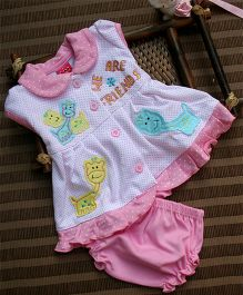 Little Bunnies Cap Sleeves Front Open Dress With Bloomer - Pink