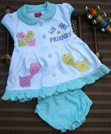 Little Bunnies Cap Sleeves Front Open Dress With Bloomer - Blue