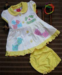 Little Bunnies Cap Sleeves Front Open Dress With Bloomer - Cream Yellow