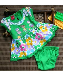 Little Bunnies Multi Flower Printed Frock With Bloomer - Green