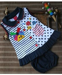Little Bunnies Front Open Windmill Applique Frock With Bloomer - Navy Blue