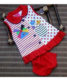 Little Bunnies Front Open Windmill Applique Frock With Bloomer - Red