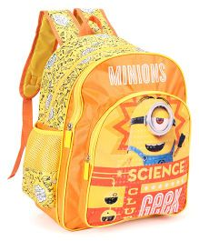 Minions Science Geek Print School Bag Yellow - Height 16 inches
