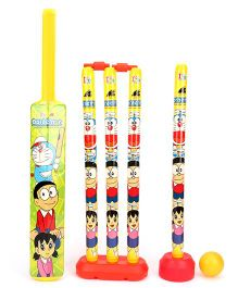 Doraemon 4 Wicket Cricket Set - Green Yellow