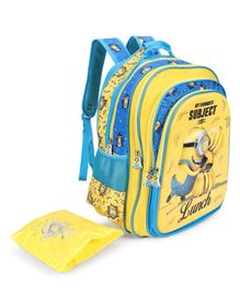 Minions Favourite Subject School Bag Blue Yellow - 18 inches