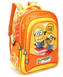 Minions Top of The Class Print School Bag Orange With Cover - 14 inches
