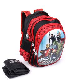 Marvel Avengers Heros School Bag With Cover Red Black - 16 inches