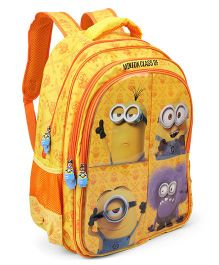 Minions Flaps School Bag Yellow & Orange - 18 inches