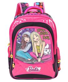 Barbie And Blissa School Bag Pink & Black - 18 inches