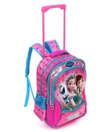Disney Frozen Anna & Elsa School Trolley Bag Pink And Blue - 16 inches