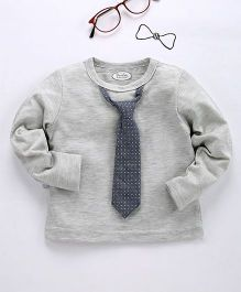 Frenchie Stylish Tee With Polka Dot Print Tie Attached - Grey