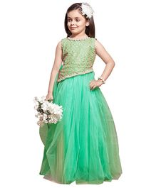 Betty Asymmetric Embroidered Bodice Full Length Gown With Bracelet And Hair Band - Green