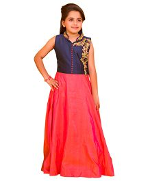Betty Stand Collar Embroidered Full Length Gown - Perky Pink