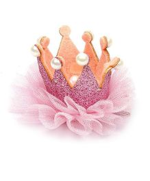 Pikaboo Pearl Studded Crown Clip - Pink