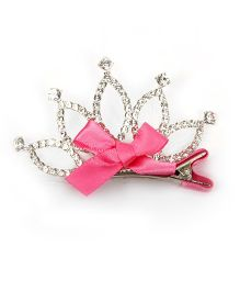 Pikaboo Pearl Studded Crown Clip - Silver Pink