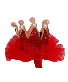 Pikaboo Pearl Studded Crown Clip - Red