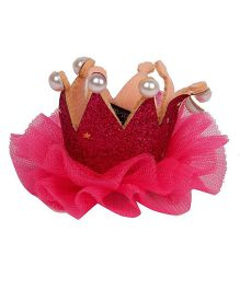 Pikaboo Pearl Studded Crown Clip - Fuchsia