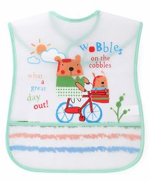 1st Step Cycle print PVC Bib - White And Green