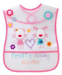 1st Step Kitty Print PVC Bib - White And Pink
