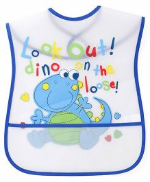 1st Step Dragon Print PVC Bib - White And Blue