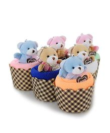 Kidslounge Bear Cupcakes Face Towels 5 Pieces - Multicolor