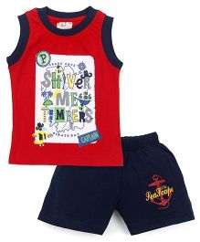 Olio Kids Sleeveless Printed T-Shirt And Shorts - Red Navy Blue
