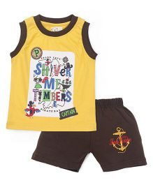 Olio Kids Sleeveless Printed T-Shirt And Shorts - Yellow Brown