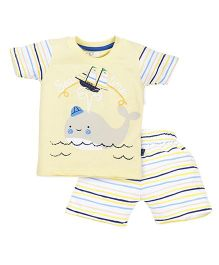 Olio Kids Half Sleeves T-Shirt And Stripe Shorts Whale Print - Light Yellow White