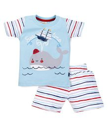 Olio Kids Half Sleeves T-Shirt And Stripe Shorts Whale Print - Sky Blue White