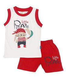 Olio Kids Sleeveless T-Shirt And Shorts Pirate Print - Off White Red